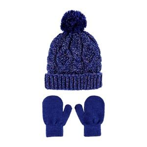 2-PIECE GLITTER CABLE KNIT HAT & MITTEN SET NWT